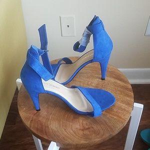 Royal Blue T-Strap Sandals 11W